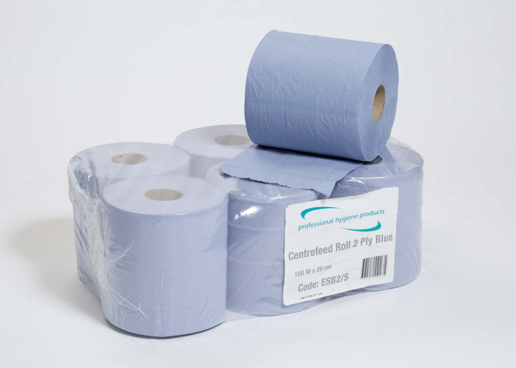 CENTREFEED ROLL 2 PLY BLUE  - 150m x 20cm  image