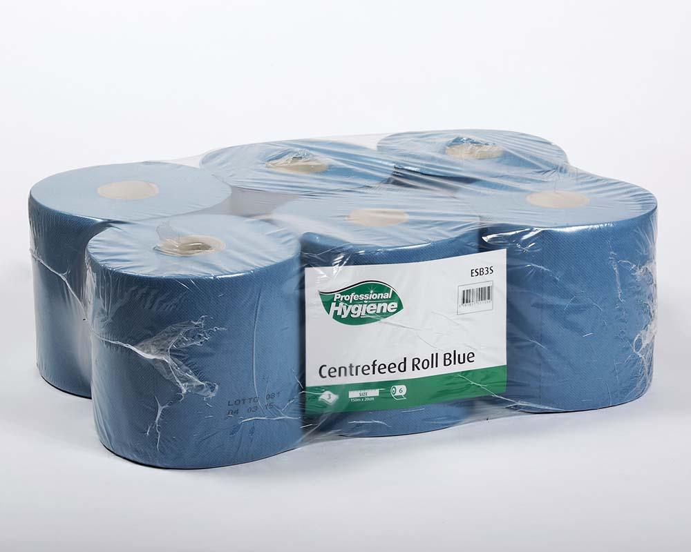 CENTREFEED ROLL 3 PLY BLUE - 150m x 20cm  image