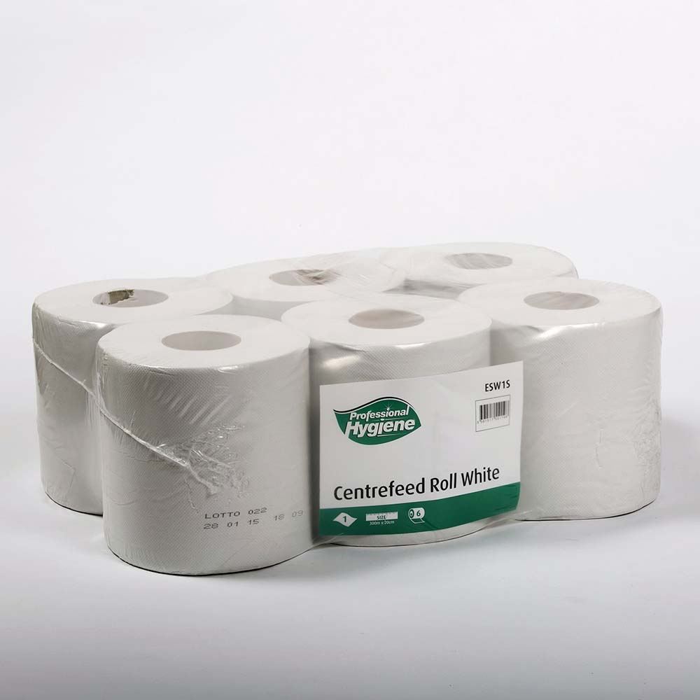 CENTREFEED ROLL 1 PLY WHITE  - 300m x 20cm  image