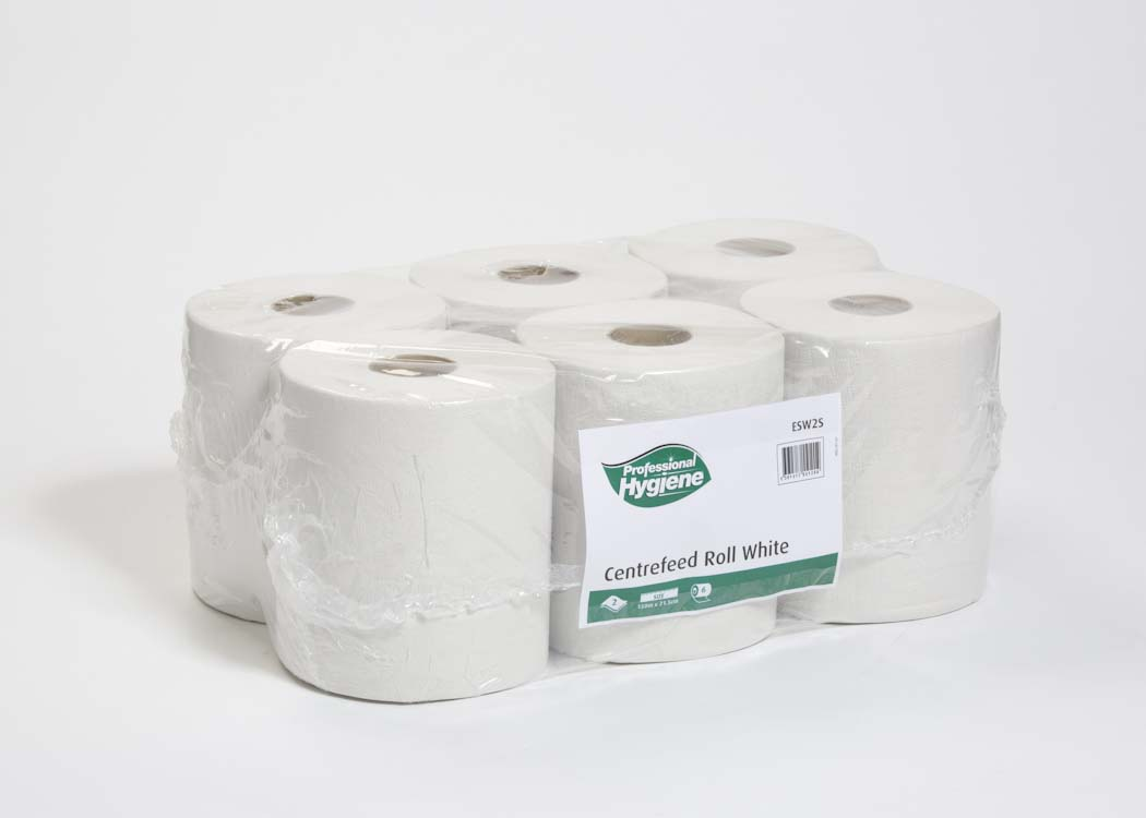 CENTREFEED ROLL 2 PLY WHITE - 150m x 21.5cm image