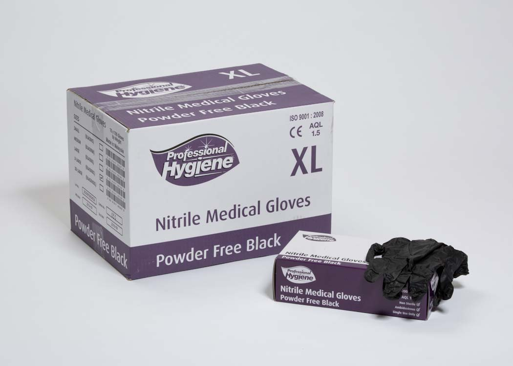NITRILE BLACK POWDER FREE -5 gram gloves image