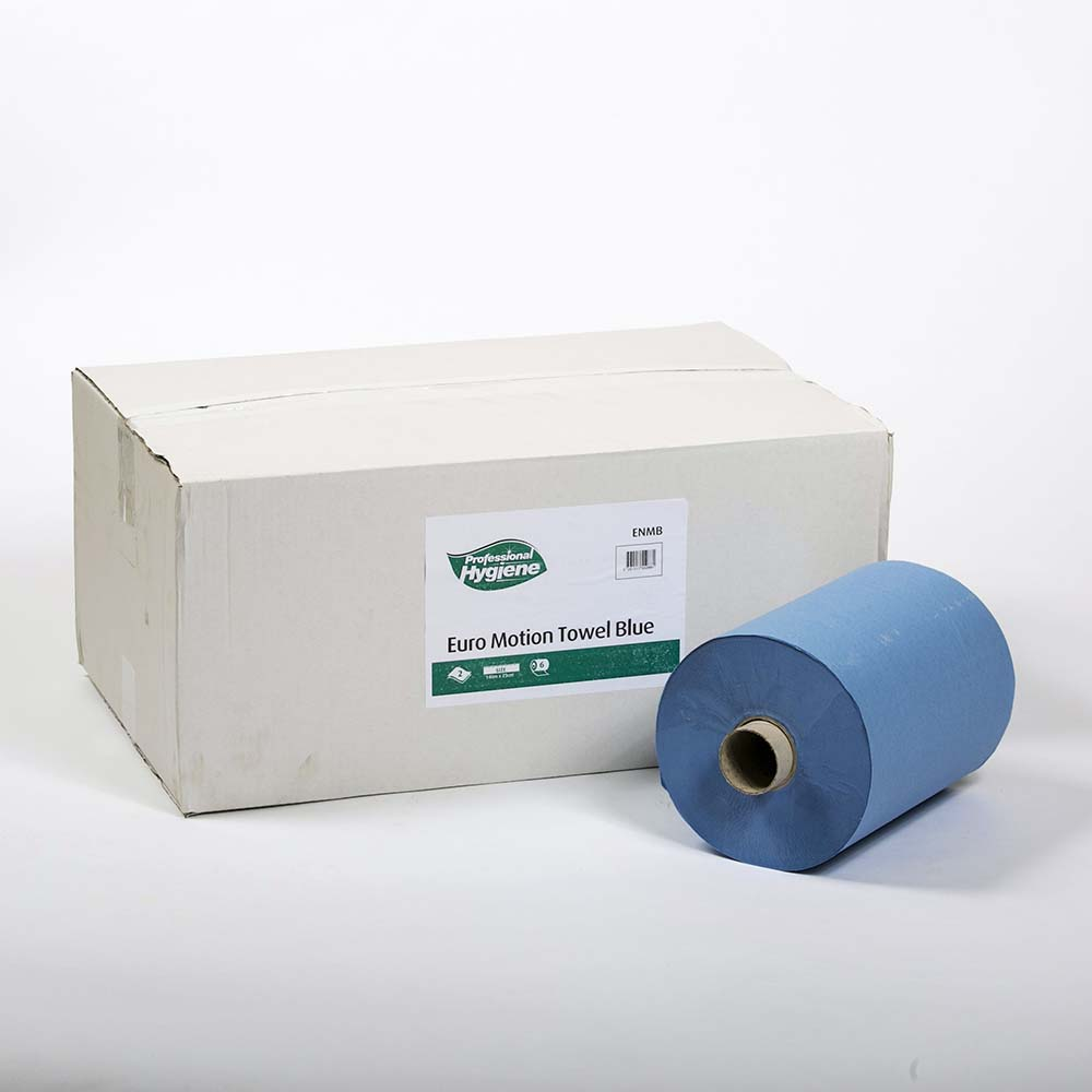 EURO-MOTION HAND TOWEL 2 PLY BLUE - 140m x 23cm  image