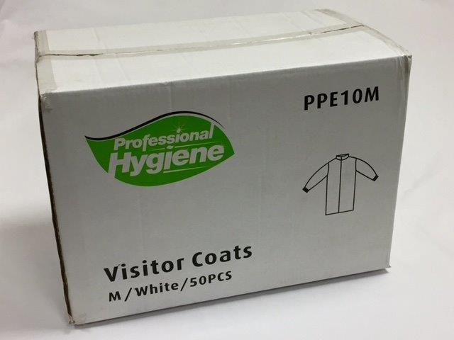 VISITOR COAT 50gsm - WHITE WITH VELCRO FASTENING image